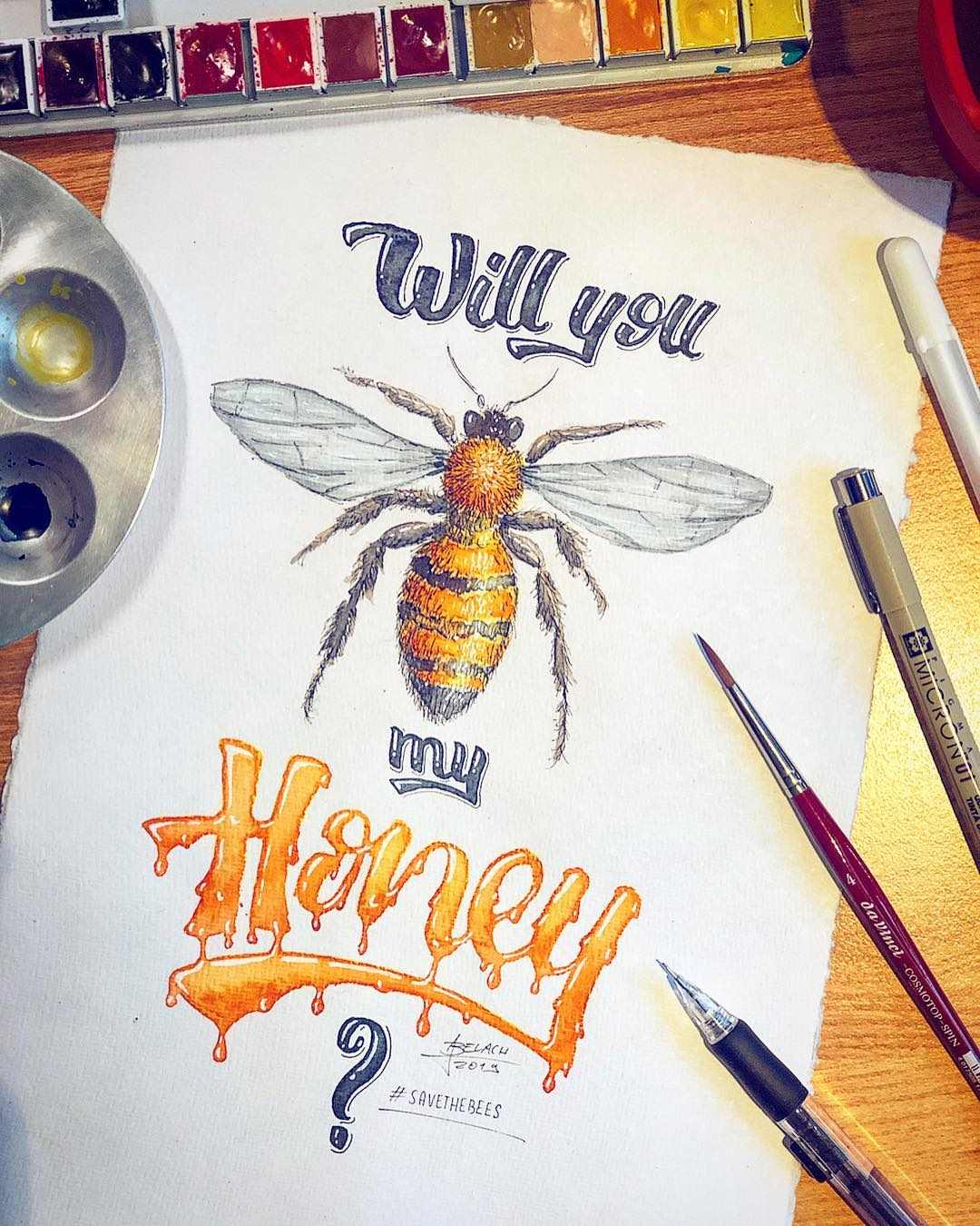 Will you bee my honey - Handlettering mit gezeichneter Biene