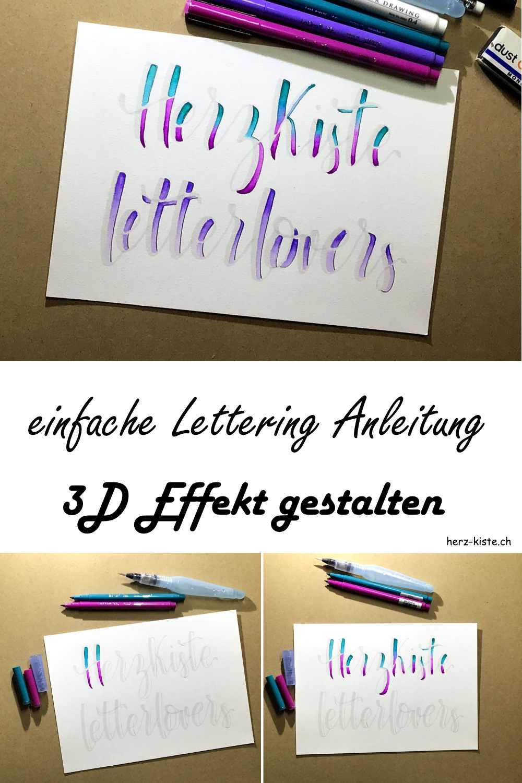 einfache Lettering Anleitung für einen 3D-Effekt zu gestalten mit einem Lettering