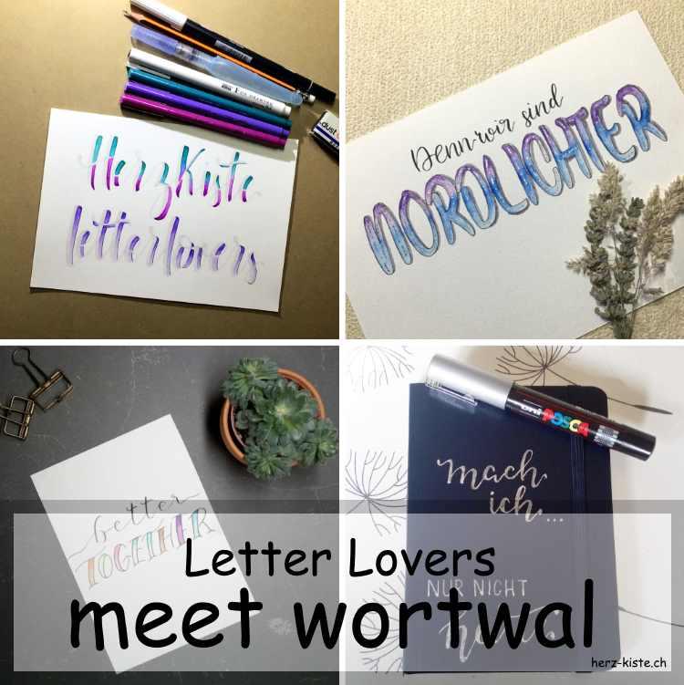 Zusammenstellung mehrerer Letterings von wortwal als Titelbild für die Letter Lovers