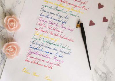 Kalligrafie Liedtext Kunz Chlini Händ