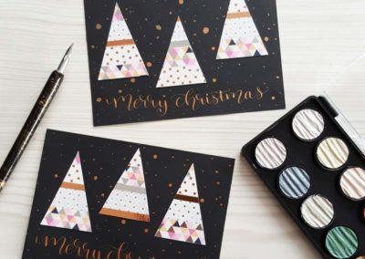 merry christmas - Karte mit Kalligrafie zu Weihnachten