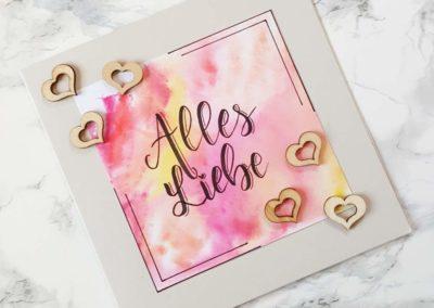 Alles Liebe - Karte mit Lettering zur Hochzeit