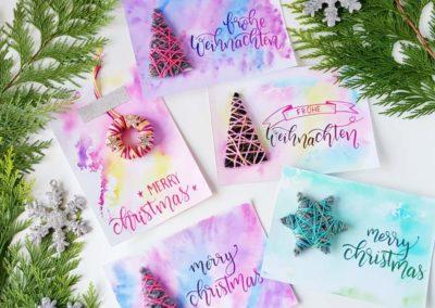 Frohe Weihnachten - selbstgemachte Karten mit Handlettering