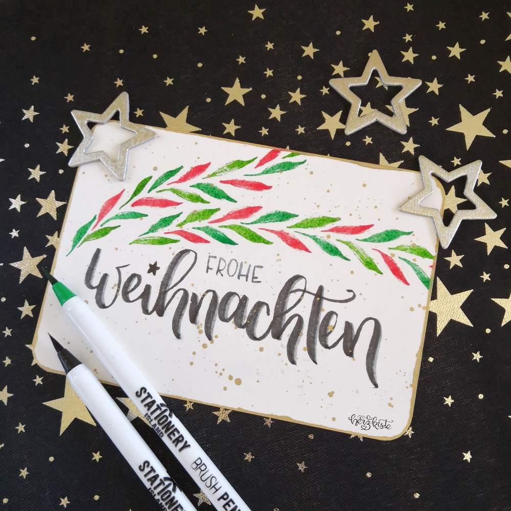 Weihnachtskarte mit Brush Lettering