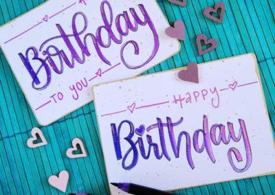 Happy Birthday - Geburtstagskarten mit Goldrand und Lettering