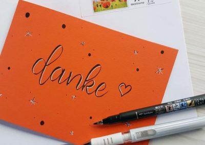 danke - einfache Karte mit Brush Lettering