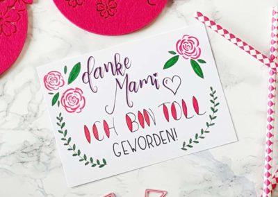 lustige Lettering Karte zum Muttertag: Danke Mami ich bin toll geworden