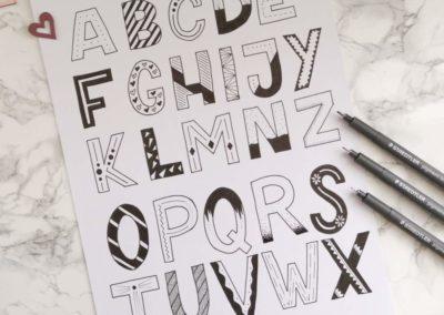Lettering Alphabet a - z in schwarz weiss