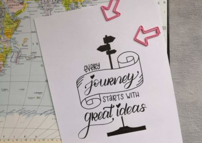 Lettering Spruch: every journey starts with great ideas