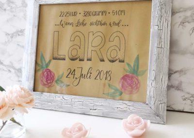 Lara - wenn Liebe sichtbar wird... Lettering Geschenk zur Geburt
