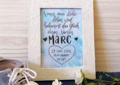Geburtsanzeige mit Lettering für Marc