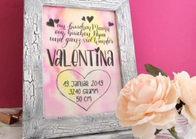 Geburtsanzeige mit Lettering - Valentina
