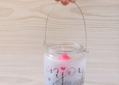 enjoy - Kerzenglas mit Handlettering selbstgemacht