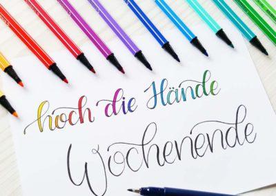 Buntes Lettering: Hoch die Hände Wochenende