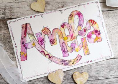 Amelia - bunte Karte mit Watercolor Name