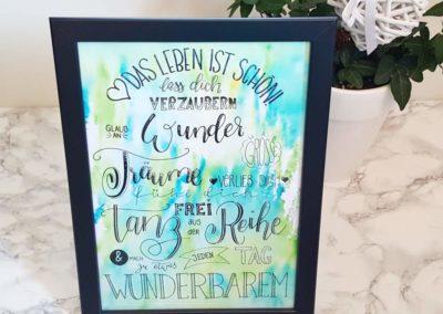 Spruch zur Taufe mit guten Wünschen - Handlettering auf Watercolor Hintergrund
