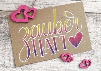 buntes Lettering mit Faux Calligraphy - zauberhaft