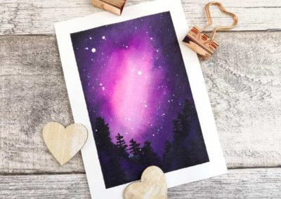 Galaxie Sternenhimmel mit Aquarell gemalt