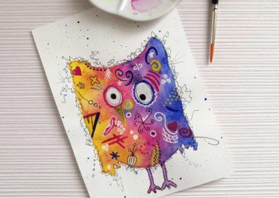 Watercolor Happy Bird - bunte und farbenfrohe Eule