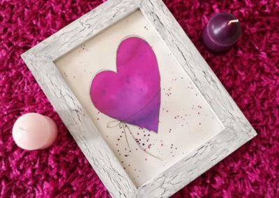 Watercolor Herz in einem Shabby Chic Bilderrahmen