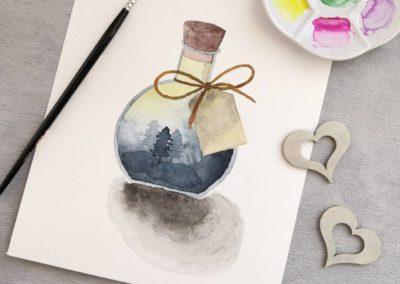Watercolor Bild mit einer Wald Morgenstimmung in einer Flasche