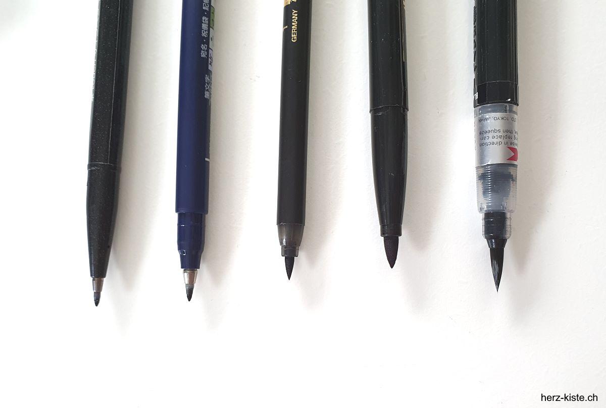 verschiedene Spitzen von Brush Pens