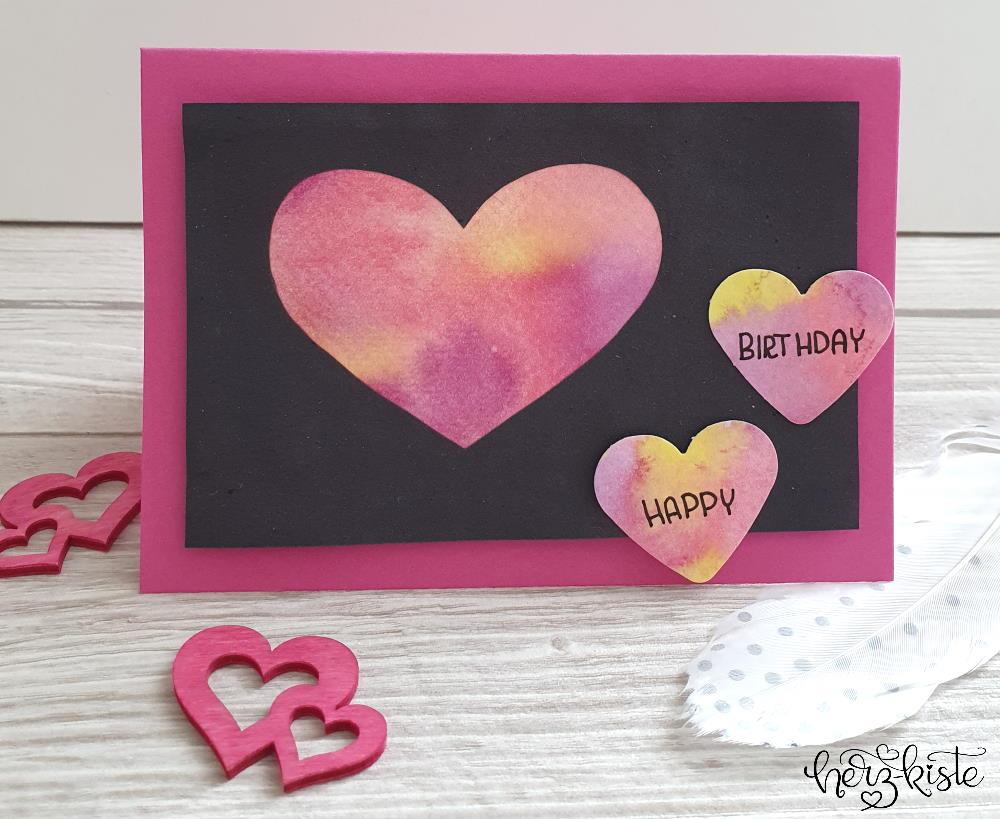 Happy Birthday - einfach selbstgemachte karte mit Herzen im Watercolor Aquarell Stil