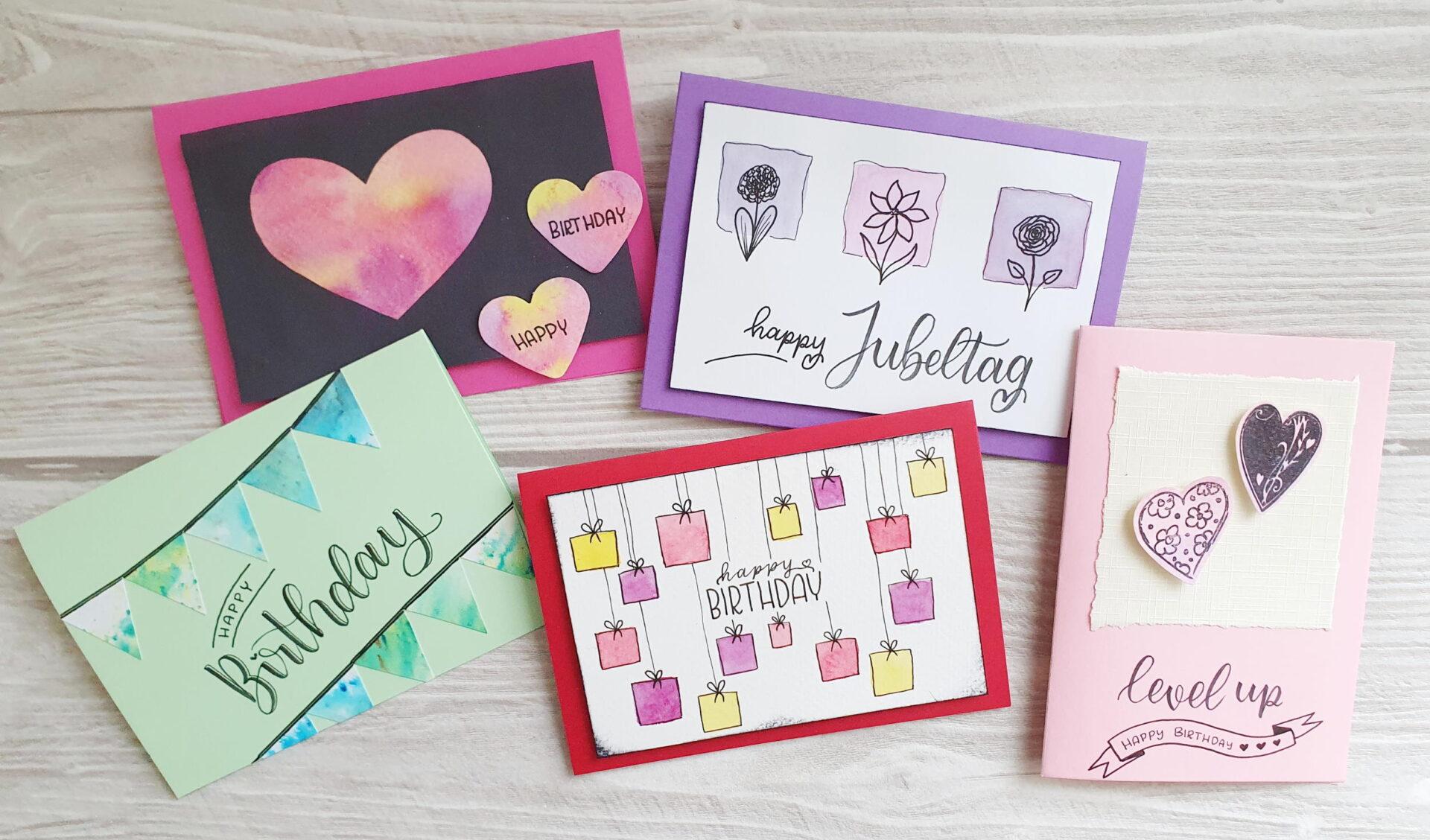 5 kreative Geburtstagskarten - einfach selbstgemacht mit Anleitung