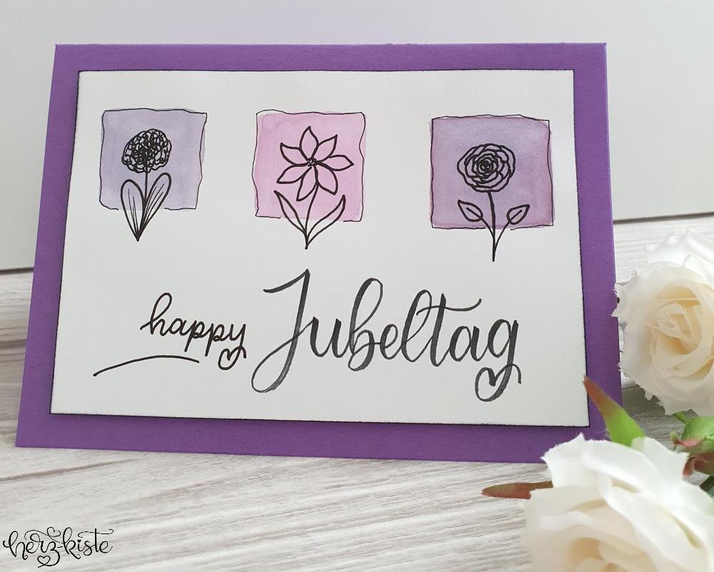 Happy Jubeltag - Einfache Geburtstagskarte mit Watercolor und Handlettering