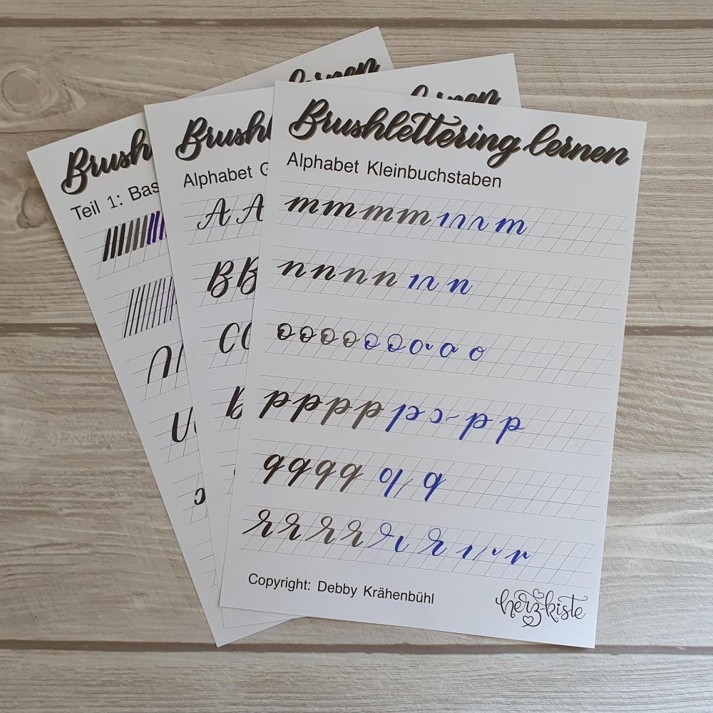 Übungsblätter für Anfänger um Brush Lettering zu lernen
